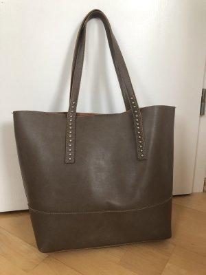Shoulder Bag grey brown-silver-colored
