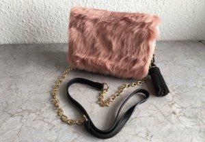 Schultertasche mit rosa Pelzimitat