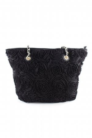 Shoulder Bag black flower pattern Metal elements
