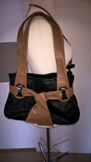 Shoulder Bag black-cognac-coloured synthetic