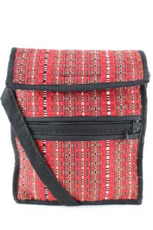 Bolsa de hombro negro-rojo estampado étnico look casual