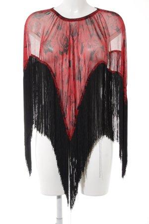 Schultertuch dunkelrot-schwarz Blumenmuster Elegant