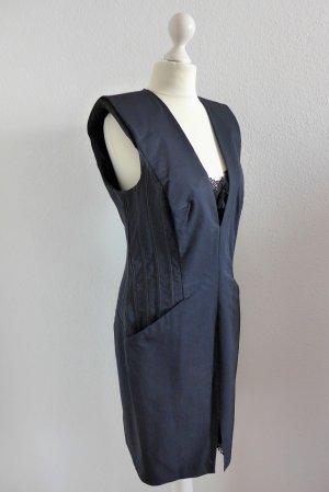 Schumacher Abendkleid Spitze Stretch blau schwarz Gr. 4 L 40