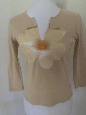 Schumacher beigefarbenes Shirt mit Blumenaufdruck in Größe S