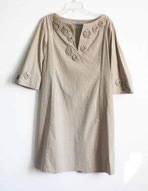 Schumacher Kleid A Linie Taupe / beige Gr. XL Blumen 3/4 Arm