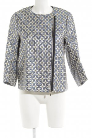 Schumacher Kurzjacke blau-beige abstraktes Muster Retro-Look