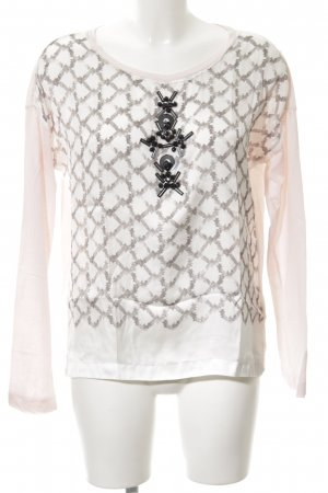 Schumacher Langarm-Bluse pink-creme abstraktes Muster Casual-Look