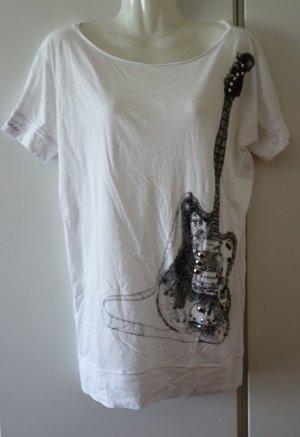 Schumacher Longshirt Gr. S (36/38) Gitarren-Print & Ziersteine Glam Rock