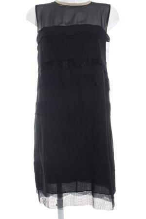 Schumacher schulterfreies Kleid schwarz-nude Colourblocking Lagen-Look