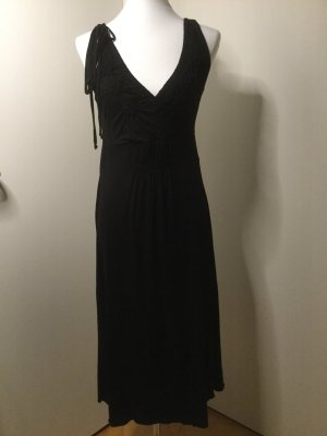 Schumacher Sommerkleid schwarz mit aufgestickten Blüten Größe L