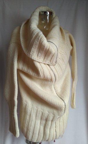 Benetton Manteau en tricot blanc cassé laine vierge