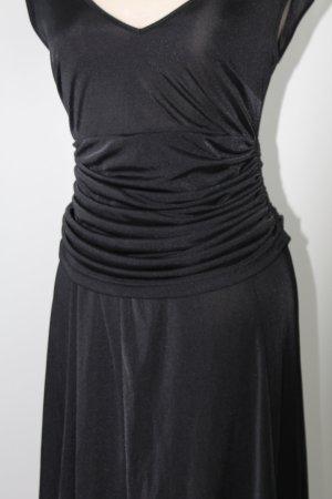 schwarz Abendkleid Kleid elegant Heidi Klum Gr. 36 S gerafft V-Ausschnitt raffiniert 1,42m lang