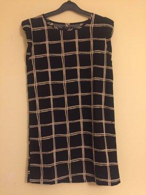 Schwarz beige gemustertes Kleid