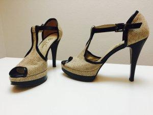 Schwarz-beige Sandalen in Größe 37
