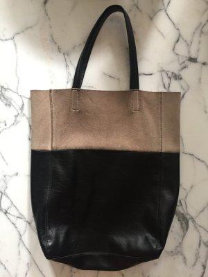 Schwarz beige Tasche / Schultertasche