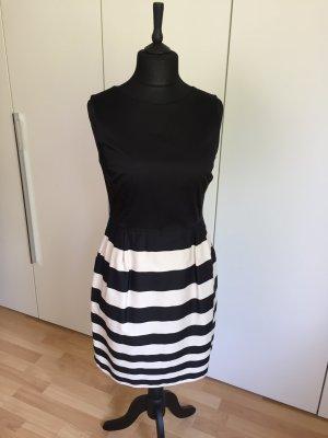Schwarz-Beiges Etui-Kleid