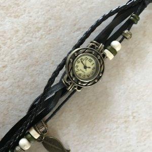 schwarz Bettelarmband Armband Uhr Leder Armbanduhr Holzfächer Fächer Damenuhr Hippie Ethno Boho