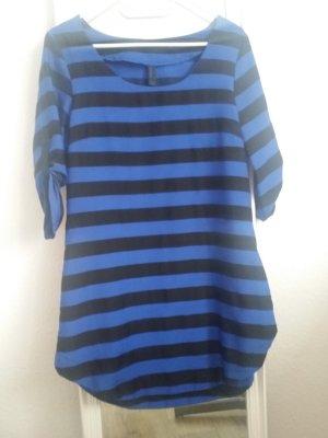 Schwarz Blau gestreift Bluse