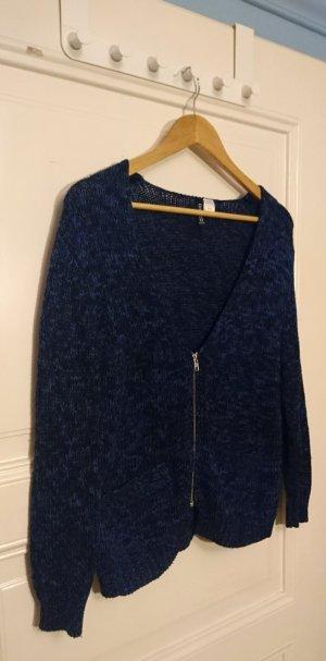 Schwarz-blau melierter Cardigan