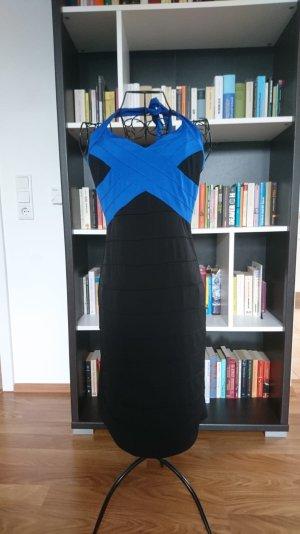 Schwarz-blaues Abendkleid
