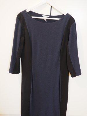schwarz/blaues Etui-Strechkleid von H&M in Größe L