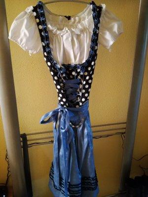 Schwarz/blaues Midi Dirndl