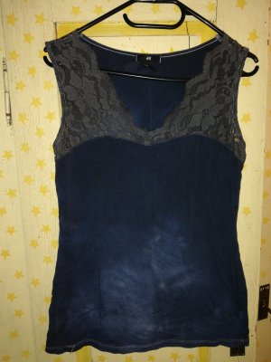 HM Lace Top anthracite-dark blue