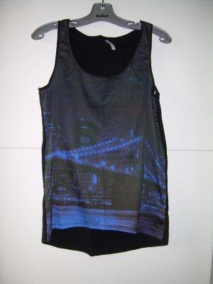 schwarz-blaues Tanktop von Fishbone mit City-Motiv Gr. L 40 Tank Top