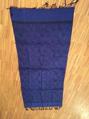 Schwarz Blaues Tuch mit Fransen