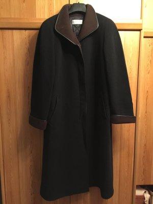 Schwarz brauner langer Cashmere/ Kaschmir Mantel von MarCona
