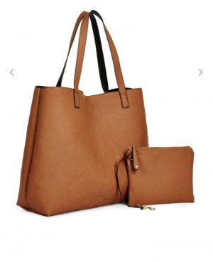 schwarz/caramel farbende Tasche+Kosmetiktasche