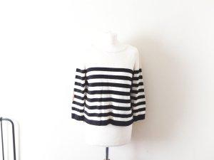 schwarz creme gestreifter H&M cropped Pullover Gr. M 38 40 mit braunen Patches