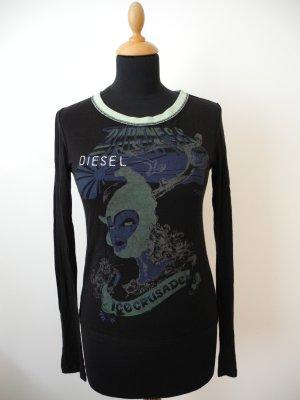 Schwarz Diesel Langarm Wolle Shirt top Oberteil edel Print Zeichnung art mint grün blau
