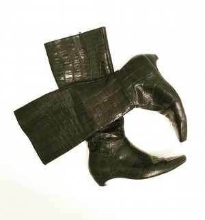 schwarz / dunkelblaue vintage stiefel / leder