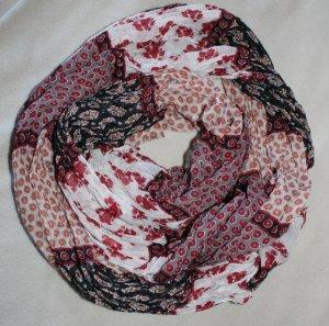 Schwarz-dunkelroter-weißer Schal mit Mustern