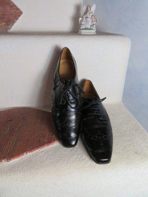Schwarz Flach Lloyd Germany Gr. 4,5/ 37,5 Budapester Leder Schnürer Schuhe Flats Lace ups