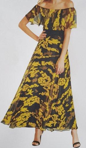 Schwarz-gelb gemustertes Maxi-Kleid mit Carmenausschnitt