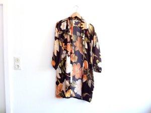 schwarz gelb orangener Kimono Jacke Jäckchen Blumen Muster tkmaxx