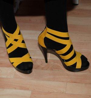 schwarz-gelbe High heels Gr. 38
