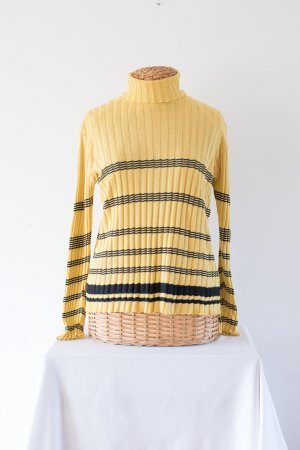 schwarz-gelber Rollkragenpulli