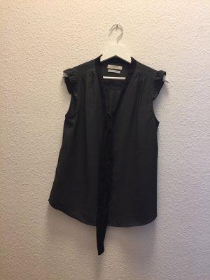 Blouse avec noeuds noir-gris anthracite polyester
