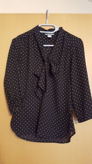 H&M Tie-neck Blouse black polyester