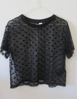 schwarz gepunktetes Mesh-T-Shirt von H&M, S