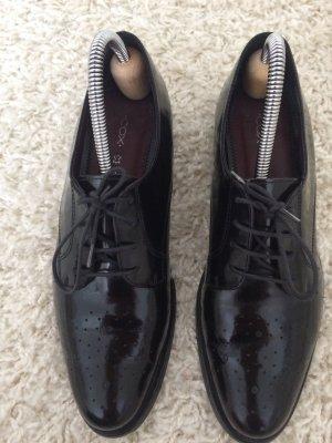 Schwarz glänzende Cox Loafers