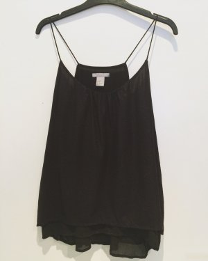 H&M Top con volantes negro-color plata