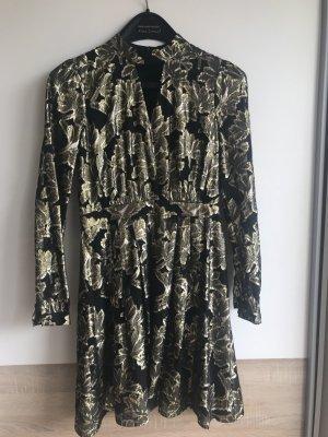 Schwarz// Gold geblümtes Kleid