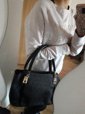schwarz goldene Basic Handtasche