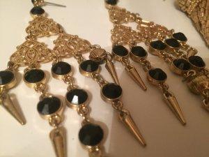Asos Statement Earrings black-sand brown metal