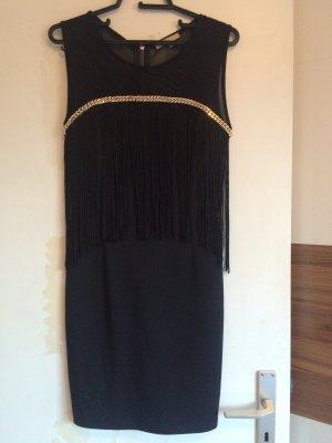 Schwarz-goldenes Abendkleid mit Fransen von soky & soka in Größe M