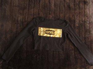 schwarz,goldenes Crop Top